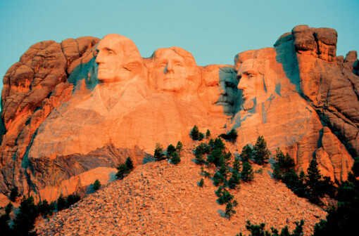 Mt. Rushmore National Memorial in South Dakota, USA. (Lefft to right) Sculptures of George Washington, Thomas Jefferson, Theodore Roosevelt and Abraham Lincoln represent the first 150 years of the history of the United States (Getty Images)