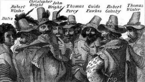 Guy (Guido) Fawkes and some of his fellow conspirators